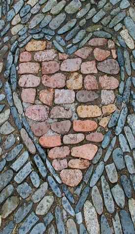 cobblestone heart in the patio: