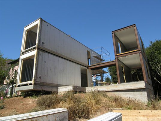 CONTAINER HOUSE (Pin 2 of 2) - The 1350 square foot, three bedroom house incorporates three forty-foot containers, two stacked on one another, and the third cut in half and stacked on itself.  For their version of a container house Leger Wanaselja Architecture repurposed refrigerated shipping containers, which provides instant exterior siding, insulation, and a built-in structural frame.  Additional framing was only needed where windows and interior partitions within the containers were…