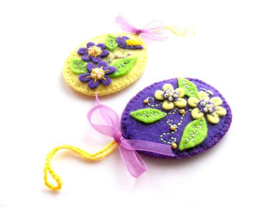 Felt floral ornaments Felt Easter eggs by bboutiquebeauties, $10.00