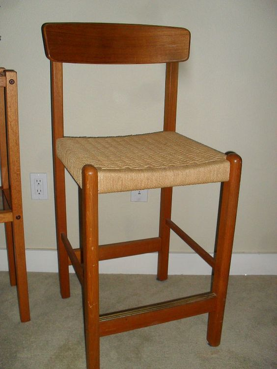 Danish Modern Teak Bar Stool With Woven Rope Seat Mid