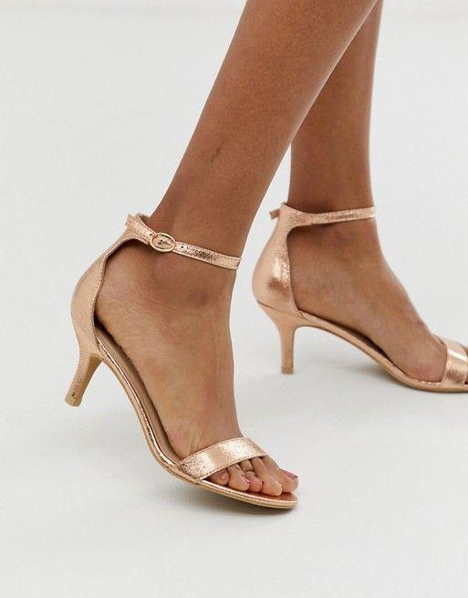 Glamorous Rose Gold Kitten Heel Sandals Asos In 2020 Gold Kitten Heels Sandals Heels Kitten Heel Sandals
