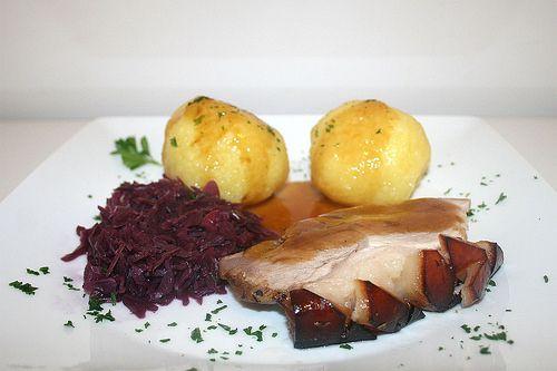 57 - Bavarian roast pork with red cabbage & dumplings - side view / Bavarian prok roast with red cabbage & dumplings Side view