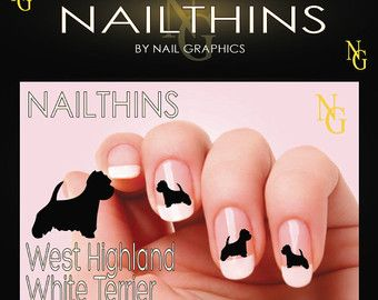 Westie West Highland White Terrier Dog Nail Art  Nail Decal  Nail Design NAILTHINS  not water slide