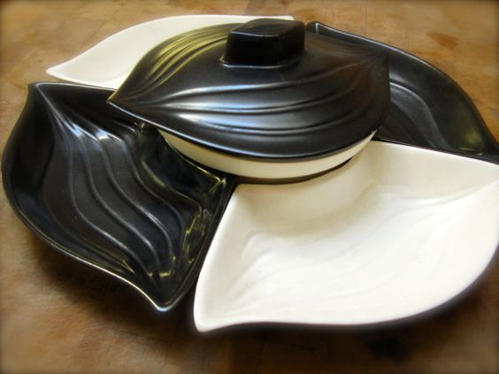 Mid Century California Pottery L34 Black and White Snack Set