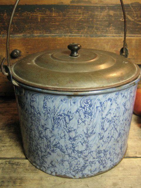Grandma's Awesome Old Large Sized Smokey Blue Swirl Graniteware Berry Pail