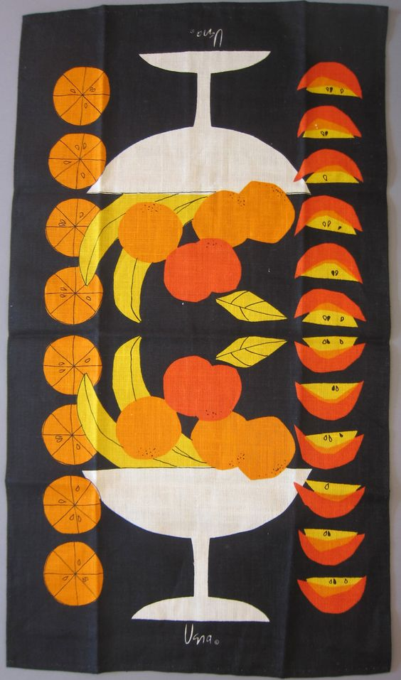 B O L D E S T Fruit Bowl Ever, Vera Vintage tea dish kitchen towel, MCM, .