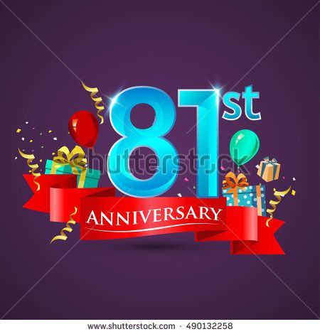 Design template 81st Anniversary celebration logo, with gift box and balloons, red ribbon. Vector illustration