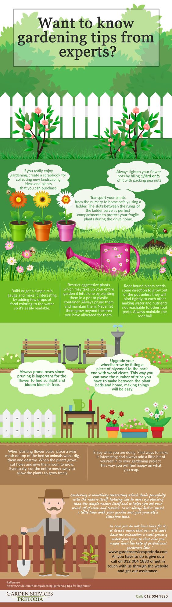 For your lawn and flower nursery to flourish, you will have to put in the effort. A few hours out of your daily schedule is all it takes. Frequent monitoring will help to keep things in order. This infographic shows you some tips from the experts that will provide proper guidance as to what needs to be done and how! Read more here: www.gardenservicespretoria.com