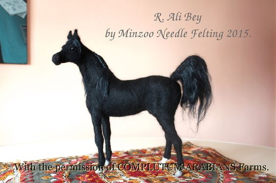 This is R. Ali Bey, the legend of arabian black line stallions. Avialable in October at my etsy shop.