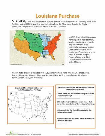 Printables Louisiana Purchase Map Worksheet the louisiana purchase ojays and war worksheets purchase