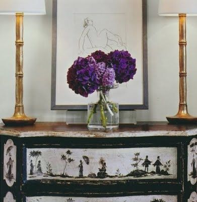 Lilacs with antique Japanese furniture