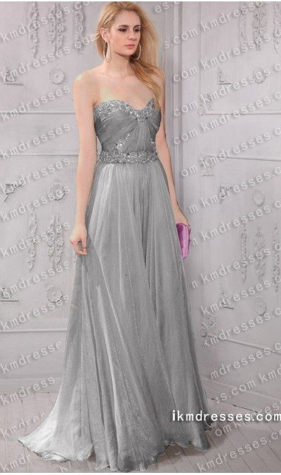 aluring strapless Sweetheart Sweep/Brush Train Chiffon Evening ...