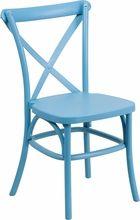 Hercules Series Bright Blue Resin Indoor-Outdoor Cross Back Chair w/steel reinforced inner leg. Flash Furniture, 11/05/15
