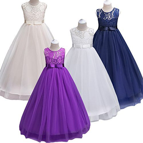 Girls Dresses Party Wedding Formal Bridesmaid Prom Lace Vintage Flower Maxi Gown