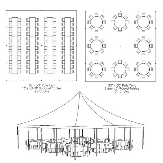 Basic Layout Of A 30x30 Frame Tent Seats Around 90 Guests