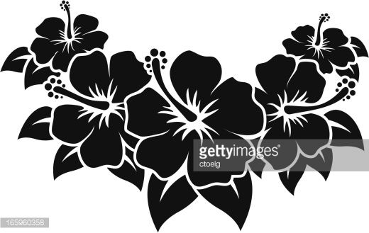 Black vector Hibiscus Flowers, no white outlines, easy to change...