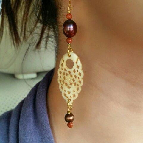 Bone and freshwater pearl earrings. www.kjohnsonjewelry.com