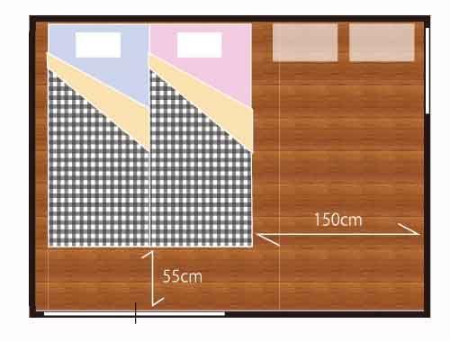 2人のベッド 6畳シングル2台のレイアウト 2020 6畳 レイアウト ベッド
