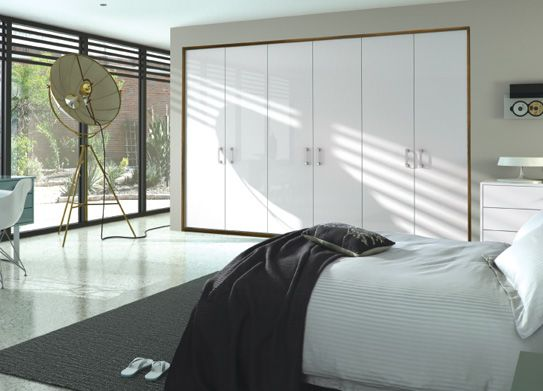 Hyperion Furniture - 8. burr walnut and white fitted wardrobes