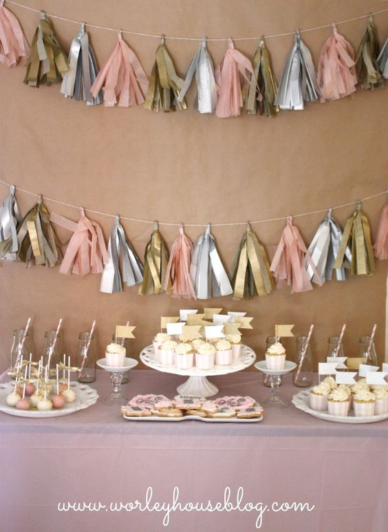 Tissue Tassel Garland as a backdrop to the sweets table - #partyidea #partydecor: Birthday Parties, Pink Gold, 1St Birthday, 3Rd Birthday, Pink And Gold, Party Ideas, Baby Shower, Birthday Party
