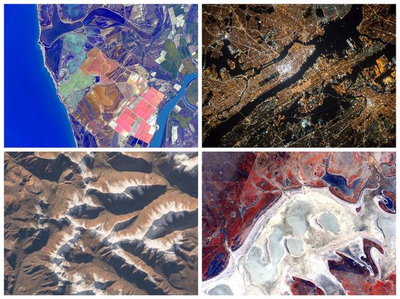 (From top left, clockwise) The coast of Spain; New York City; Australia; the Himalayas.