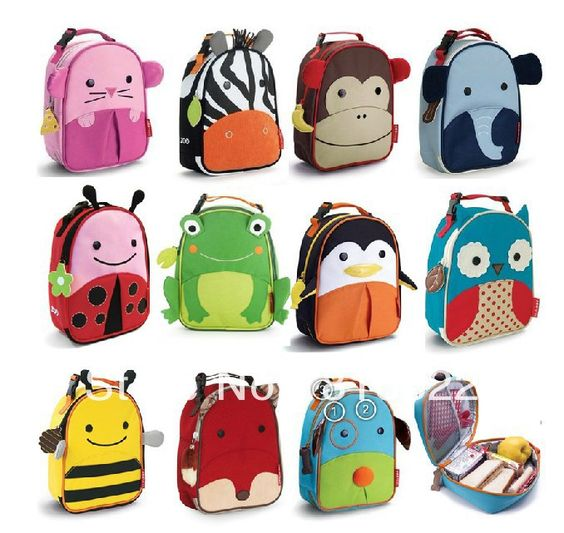 Free Shipping Children Zoo Lunch Bags Multi-function Meal Package Portable Insulated Food Lunch Bags For Kids $7.58