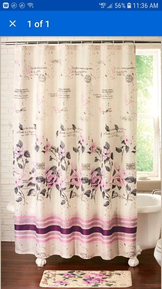 Bathroomart Bathroomdecor Pink Roses Shower Curtain Bathroom