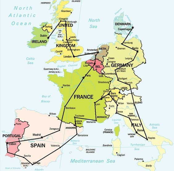 Just follow this map and you'll hit many of the awesome places in Western Europe!  It's that simple!