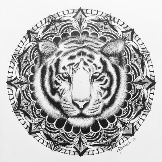 The Completed Piece tiger mandala art animal blackandwhite draw