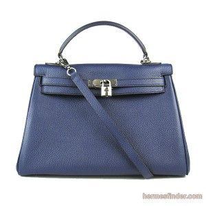 used birkin bags for sale hermes - Hermes Kelly 32CM Navy Blue Clemence Leather replica Bag Silver Hw ...
