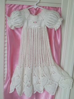Hand Crochet Pineapple Christening Gown! I MADE THIS IN 1999 FOR MY GRANDDAUGHTER WITH HAY AND BOOTIES TO MATCH. I SHORTENED THE STRAIGHT PART BY HALF.. HAVE WON BLUE RIBBON WITH IT TOO!