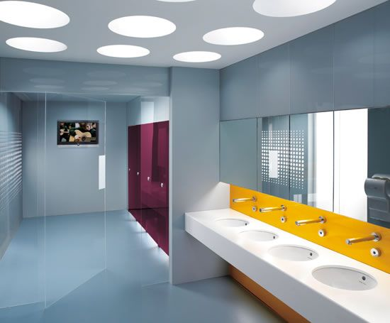 Purple partitions and yellow white basin area ba os for Washroom design ideas
