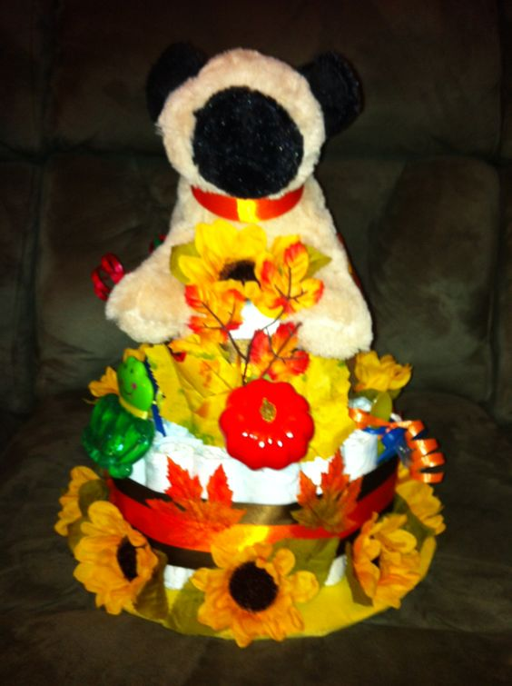 Two-tier diaper cake, Fall theme.  Go to http://www.lisasgiftcakes.com for more info or to order!