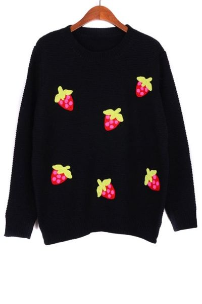 Strawberry Embroidered Sweater OASAP.com