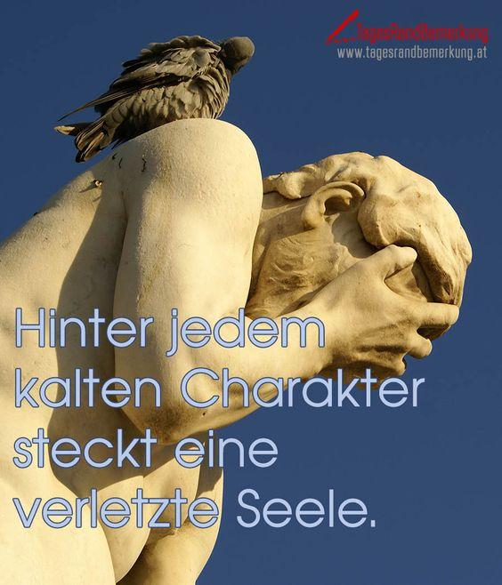 Hinter jedem kalten Charakter steckt eine verletzte Seele. #QuoteOfTheDay #ZitatDesTages #TagesRandBemerkung #TRB #Zitate #Quotes