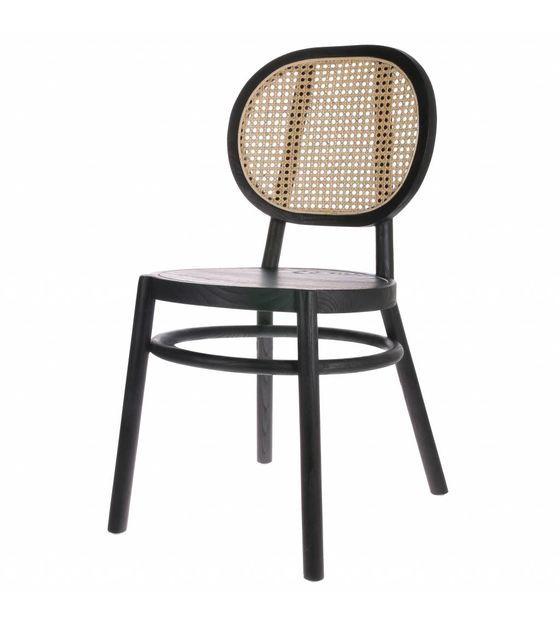 Egg Chair Riet.Stoel Retro Webbing Zwart Hout Riet 45x54x85cm Retro Dining