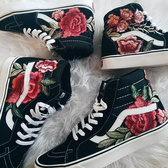 Custom Rose Floral Embroidered Vans Sk8-HI I got a lot of great feedback after posting my personal pair on instagram, so I decided to offer these out! Mens and Womens Size Available (Please choose your size carefully - listing is in US sizing.) They are genuine Vans Sneakers that are customized by hand. Price shown is the TOTAL PRICE INCLUDING THE SHOES. :) The orientation and placement of the flowers may vary slightly per each shoe. It will look similar, but not exact, as the photos shown. ...: