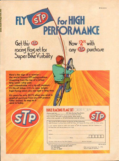 1974 Vintage Ad - STP Bike Racing Flag Set Offer