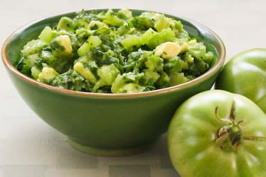 Salsa Verde with Green Tomatoes, Avocados, and Cilantro from Kalyn's Kitchen
