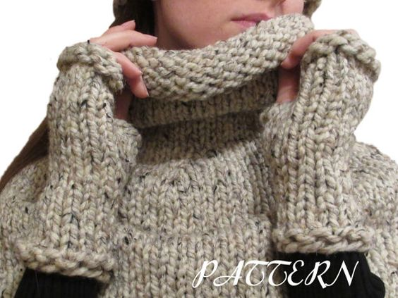 diy PDF PATTERN - TENACITY - Fingerless Gloves Knitting Pattern - Thick and C...