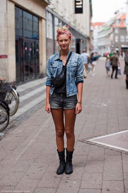 タンガリーシャツと短パンでスポーティに♪ウエストポーチのコーデ☆スタイル・ファッションの参考に♪