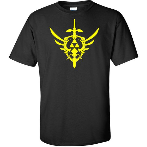 The Legend of Zelda Crest Themed Vinyl Pressed T-Shirt ($12) ❤ liked on Polyvore featuring tops, t-shirts, black, women's clothing, crew neck tee, stitch t shirt, crew t shirt, crew-neck tee and heavy t shirts