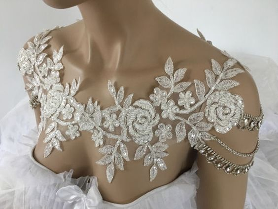 Bridal Dress Shoulder Necklace Rhinestone Lace by EzraBridalShop