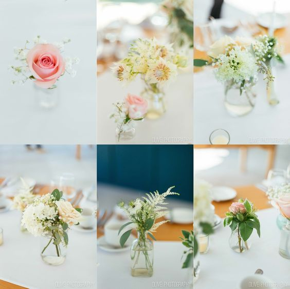 mismatched adorable small arrangements for an eclectic tablescape - Olive Photography | www.olivephotography.ca | Toronto & GTA wedding photographer