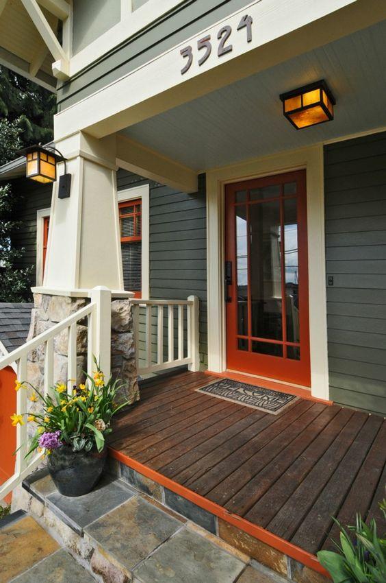 Craftsman home & detached garage (green siding with ivory trim and burnt orange windows & door), Seattle, WA