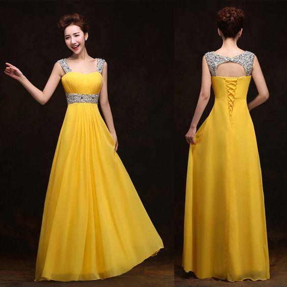 Querida cintas de espaguete amarelo Evening vestido longo de Chiffon Backless mulheres vestidos de noite Formal Plus Size grátis frete em Vestidos de Noite de Roupas & acessórios no AliExpress.com | Alibaba Group
