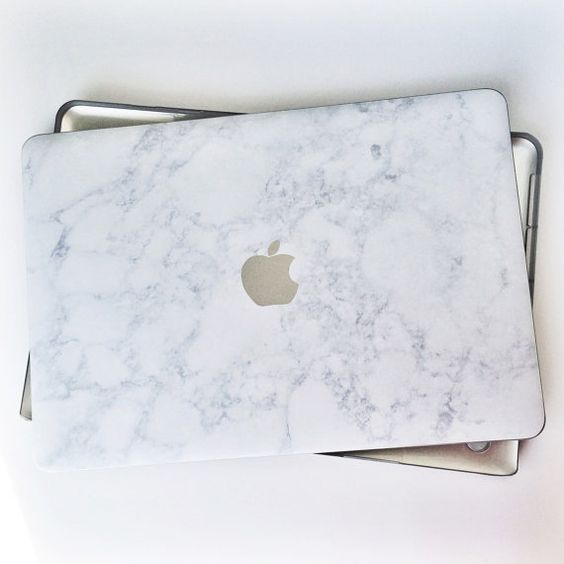 Marble and Silver Logo Laptop Case by JanetGwenDesigns on Etsy