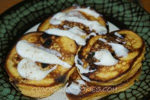 Pumpkin Chocolate Chunk Buttermilk Pancakes with Cream Cheese Topping ...