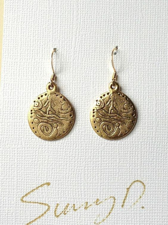 Ancient Coin Scene Earrings Gold by SunnyDsMarket on Etsy, $15.00