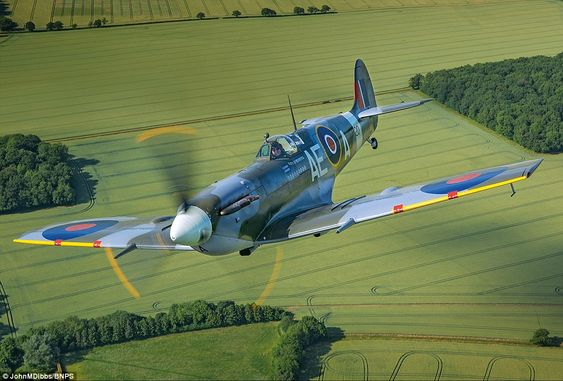 Beauty: Mk Vb Spitfire EP120 powered by a Rolls Royce Merlin. The plane was taken on by th...